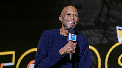 Backstage at WE Day with Kareem Abdul-Jabbar.