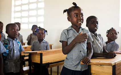 Students in class in Haiti