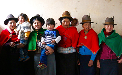 A group of young women and their children