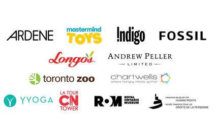 Ardene, Mastermind Toys, Indigo, Fossil, Longo's, Andrew Peller Limited, YYoga, CN Tower, Royal Ontario Museum, Canadian Museum for Human Rights