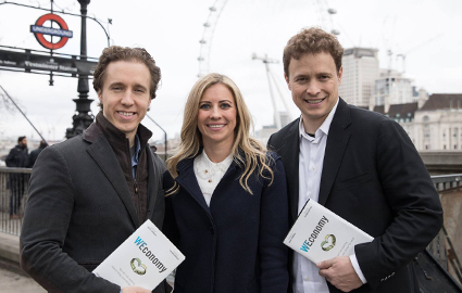 Craig and Marc Kielburger with Holly Branson