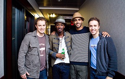 Craig and Marc Kielburger meeting talent backstage at WE Day