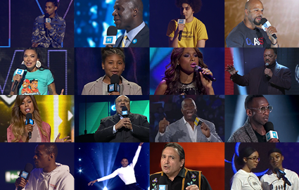 Montage of people on WE Day stage