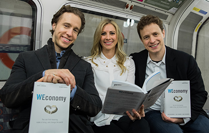 Craig and Marc Kielburger, and Holly Branson promoting their book WEconomy