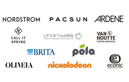 Nordstrom, PacSun, Ardene, Call It Spring, Chartwells, Van Houtte Coffee Services, Brita, Pela, Olivela, Nickelodeon, Econic