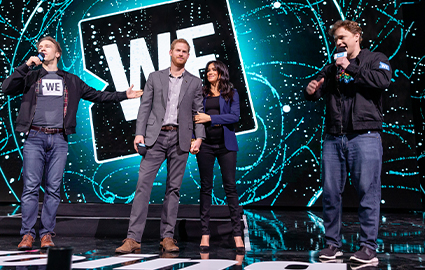 Craig and Marc Kielburger with Prince Harry and Meghan Markle at a WE Day UK event