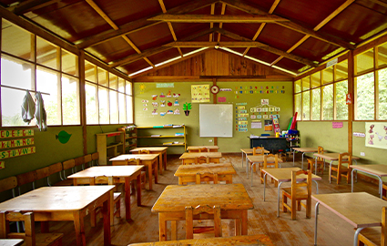 Empty primary school classroom in Ecuador