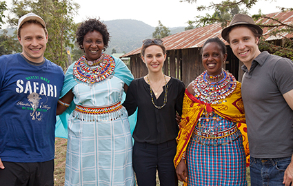 Craig and Marc Kielburger in Kenya with Natalie Portman and local mamas