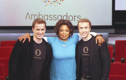Craig and Marc Kielburger with Oprah on the Oprah Winfrey Show