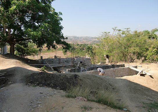 Construction of a hygiene block.