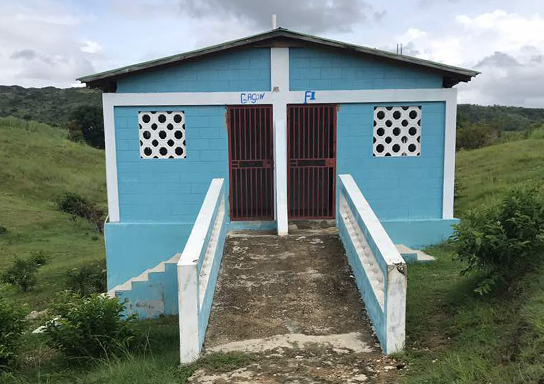 A hygiene block built by WE in Haiti.