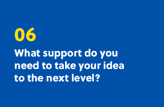 6. What support do you need to take your idea to the next level?
