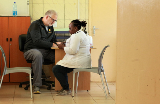 Medial practitioners inside the doctor's office at Baraka Hospital in Kenya