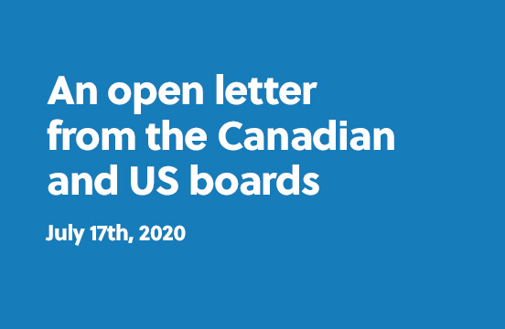 An open letter from the Canadian and US boards - July 17th, 2020