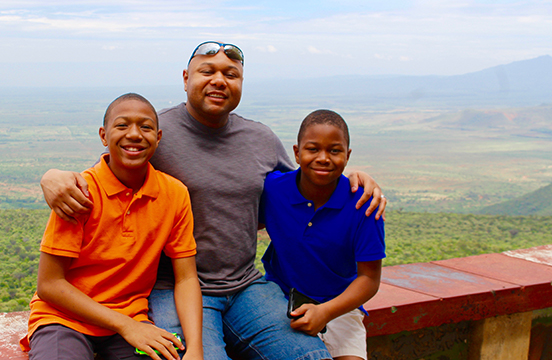 Norm, Jeremiah and Joshua West in Kenya.