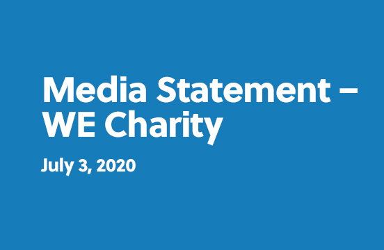 Media Statement - WE Charity - July 3, 2020