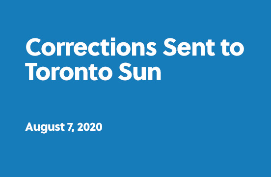 Corrections sent to Toronto Sun - August 7th, 2020