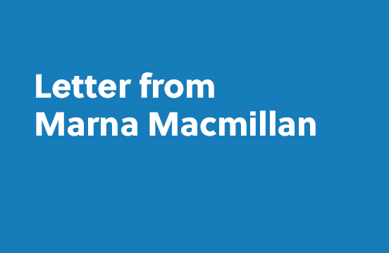 Letter from Marna Macmillan