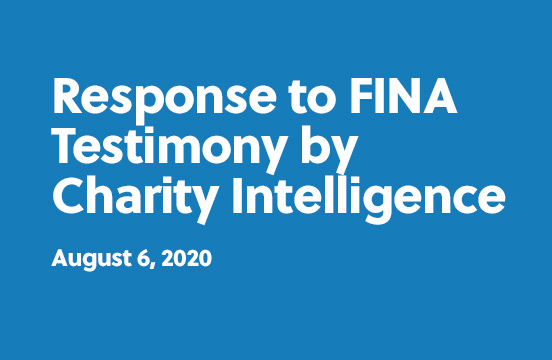 Response to FINA Testimony by Charity Intelligence - August 6th, 2020