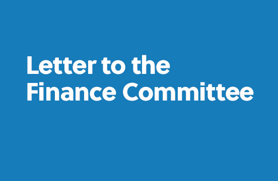 Letter to the Finance Committee