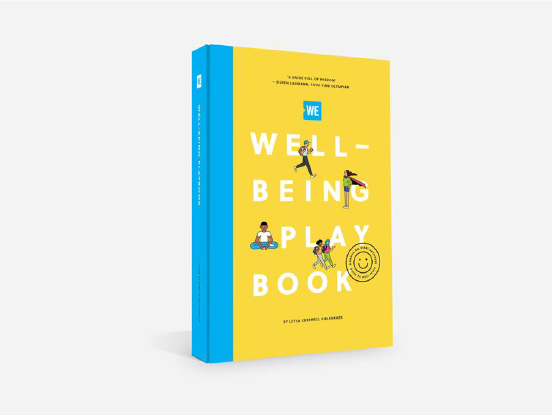 The WE Well-being playbook cover, a bright yellow with drawings of human figures interacting with the letters