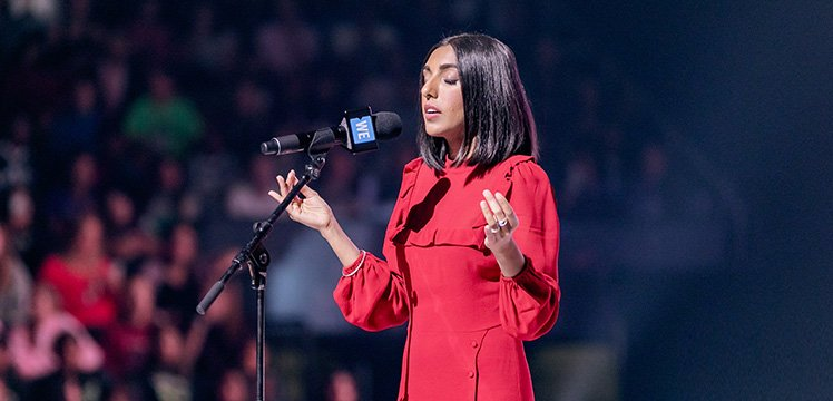 Backstage at WE Day with poet Rupi Kaur