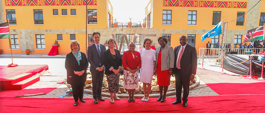 The First Lady of Kenya with Craig Kielburger and others at the WE College.
