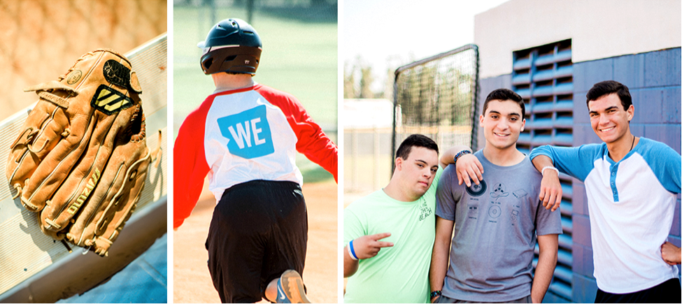 Left: A baseball glove. Center: Christian playing baseball. Right: Johnny, Christian and a friend.